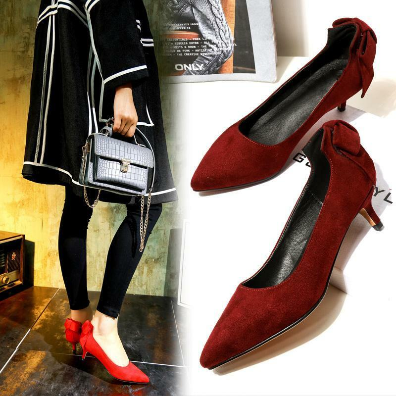New Women Pointed Toe Nightclub Pumps Bowknot Pull On Stiletto Heel Party shoes