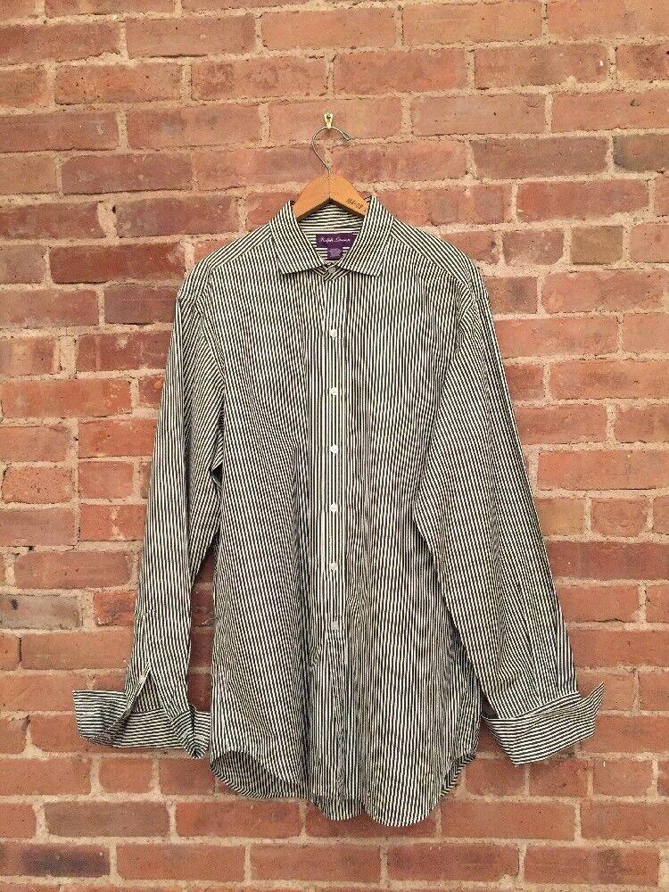 VINTAGE Ralph Lauren Purple Label Shirt, Stripes Sz 17, French Cuffs,