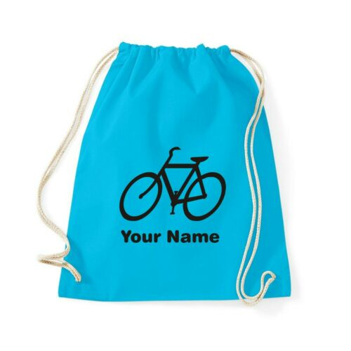 PERSONALISED COTTON DRAWSTRING CYCLING BAG BACKPACK BIKE BICYCLE CYCLE ROAD NAME