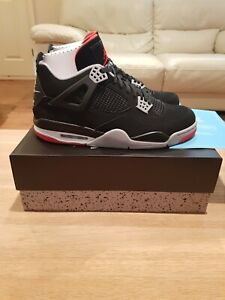 chaussures de sport f9bb4 3bb72 Details about Nike Air Jordan IV 4 OG Retro 2019 Bred UK 12 Black/Cement
