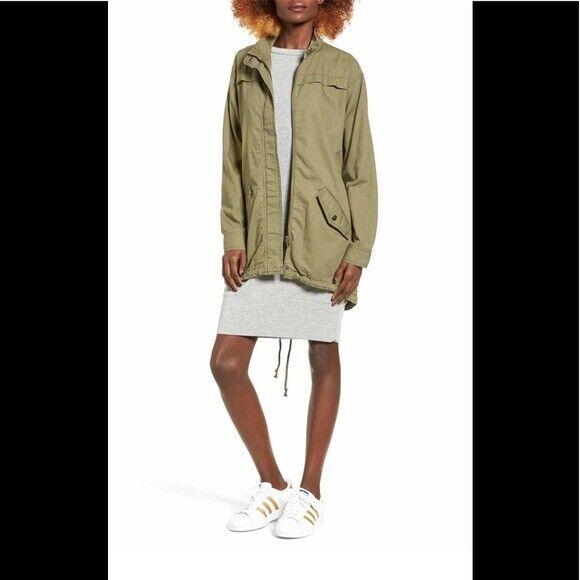 BP military green utility military jacket high low hem full zip closure size XS