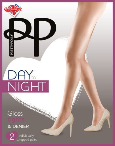 Pretty Polly Day to Night Sheer GLOSS Tights 15 Denier 2 Pair Pack