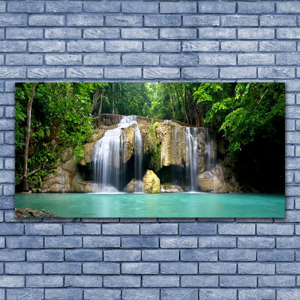 Glass print Wall art 140x70 Image Picture Waterfall Tree Nature