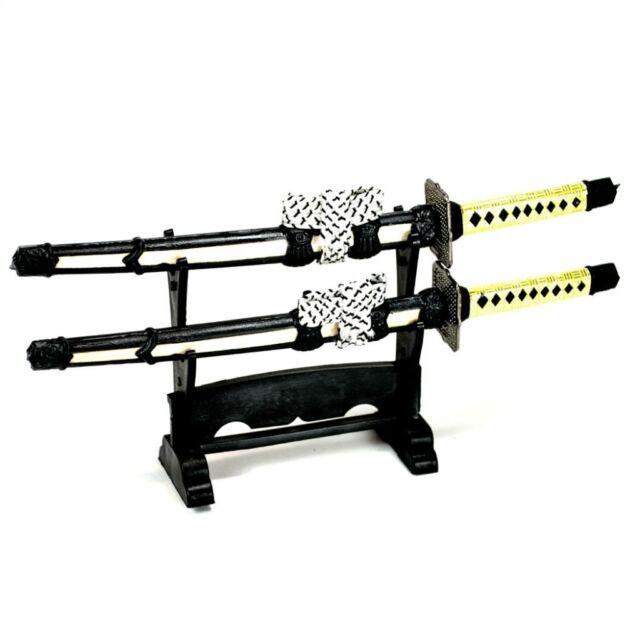 SAMURAI SWORD LETTER OPENER w STAND Mini Desk Set Double Blade Japanese Envelope