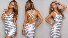 SeXy Pailletten Träger Minikleid Weiß Silber Abendkleid Cocktailkleid 36 38 S M