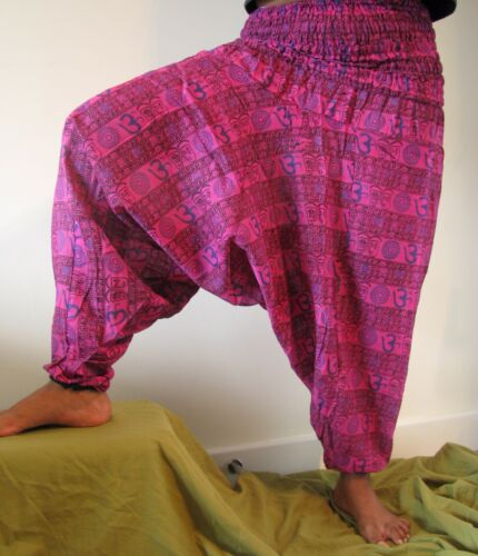 Harem Trousers ॐ Aum Om  Alibaba Boho Gipsy Cotton Summer Yoga Dance Indian Wear