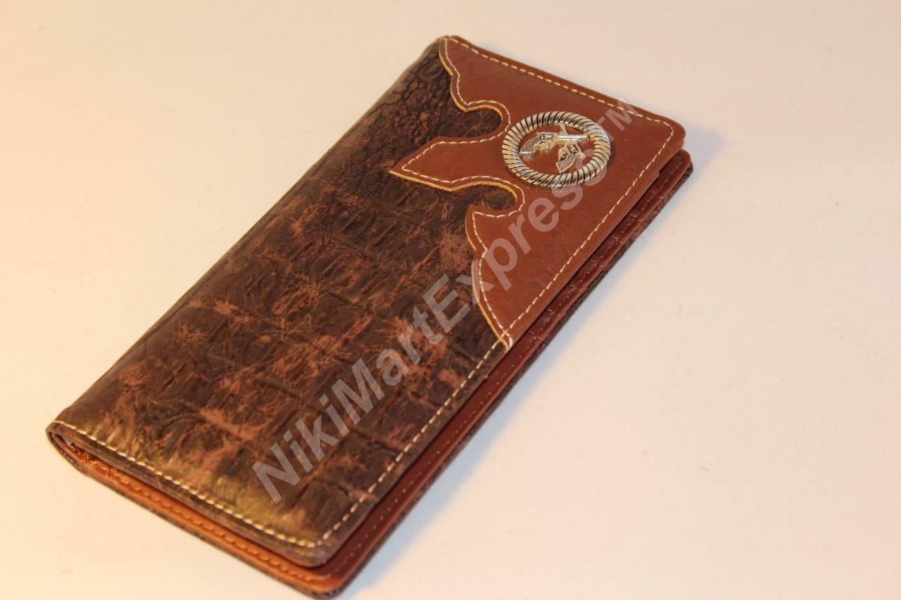 Faux Leather Crocodile Print WESTERN CHECKBOOK RODEO BUDDED WALLET 2 Guns Concho