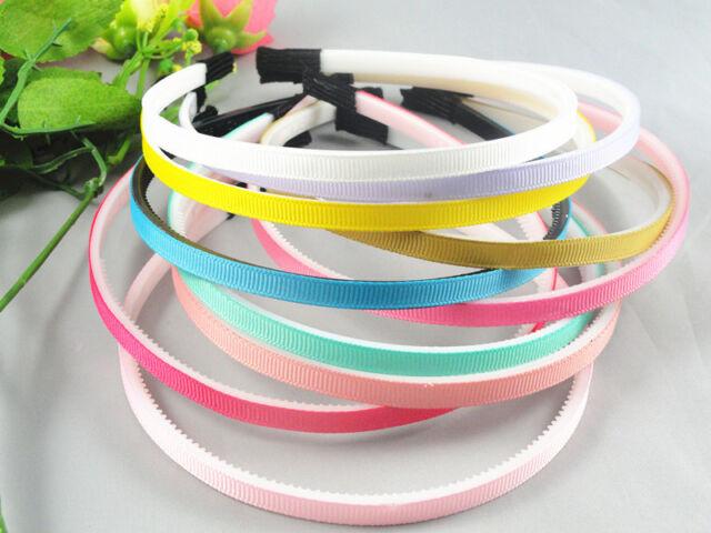 10pcs Flexible New Grosgrain Ribbon Plastic Girl Hair Bands DIY Hair Accessories