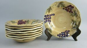 Lot-of-8-Noble-Excellence-China-MERITAGE-Rim-Soup-Bowls-EX