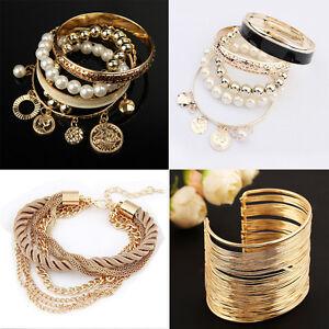 Mode-Charme-Frauen-Viele-Stil-Gold-Strass-Armreif-Manschette-Armband-Schmuck