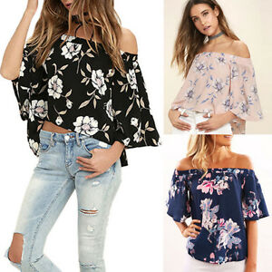775e92dd3aa32 Fashion Flare Sleeve Women Off Shoulder Floral Print Blouse Casual ...