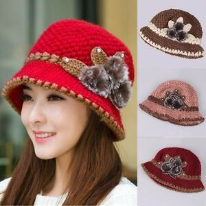 3d29b15cf70 Women Winter Warm Beret Braided Knit Crochet Baggy Beanie Flower Hat ...