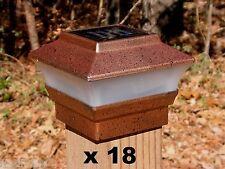 18 Solar Fence Cap Post Lights Copper Color - 4x4 Wood Posts Only - PL244