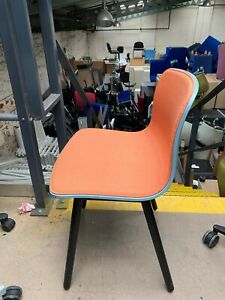 Blue MFC Shell Hay Chairs Orange Fabric Dining Office Meeting Black Wooden Legs