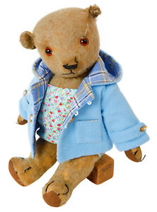 NEW PALE BLUE DUFFLE COAT WITH CHECKED LINING FOR MEDIUM BEARS 18-20 INS 45-50CM