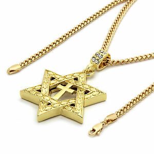 1ebefd531a0ec Details about Mens 14k Gold Plated Star of David Cross Pendant 30