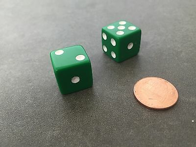 Green with White Pips Set of 100 Six Sided D6 16mm Standard Dice Die