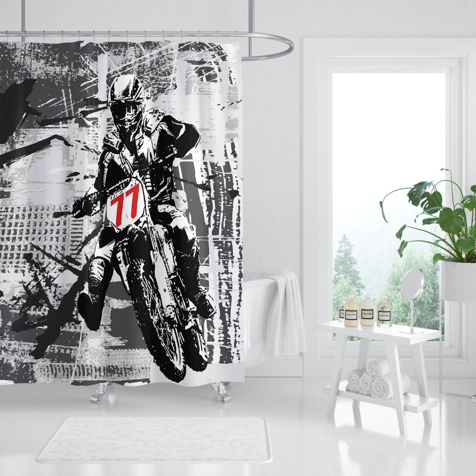 3D Moto 54 Rideau de Douche Imperméable Fibre Salle de Bain Home Windows Toilette