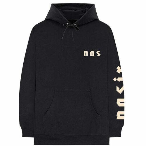 NAS Homme Symboles Sweat à capuche noir imprimé dans le dos