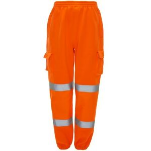 Supertouch Two Tone High Visibility Jogging Bottoms Pants Trousers Yellow Orange