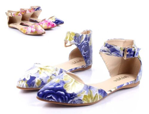 Blue Multi Floral nn Point Toe Fashion Women Ballet Flats Dress Shoes Size 7
