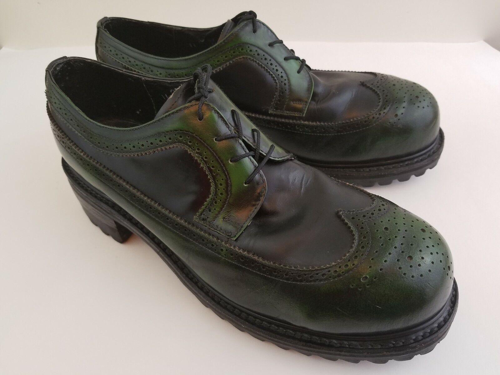 Zapatos de Cuero Vintage muro Welt verde Hombres 11 años 90 Rave Punk Goth