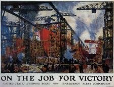 ON THE JOB FOR VICTORY  Jonas Lie1918 propaganda style poster print