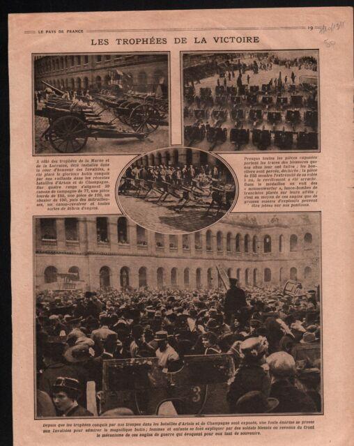WWI Bataille d'Artois & Champagne Esplande des Invalides Paris 1915 ILLUSTRATION