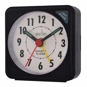 Acctim 25/738bb Ingot Mini Battery Travel Alarm With Light & Snooze Black Harmonious Colors Clocks