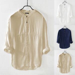 Retro-Men-039-s-Long-Sleeve-Linen-Shirt-Collarless-Blouse-T-Shirt-Holiday-Tops-Tee