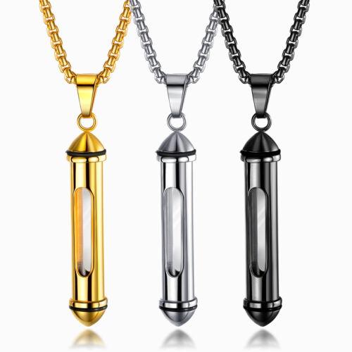 Urne Asche Anhänger 55cm Kette Edelstahl Glas Zylinder Parfüm Memorial Halskette