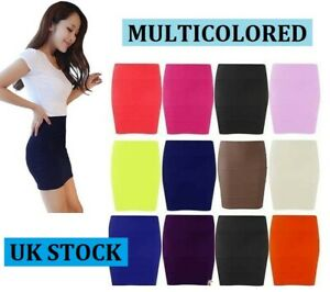 New-Womens-colour-Stretch-Elasticated-Jersey-Bodycon-Short-Mini-Skirt-SW