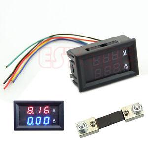 Dual-LED-Digital-Voltmeter-Ammeter-Amp-Volt-Meter-Current-Shunt-DC-100V-100A