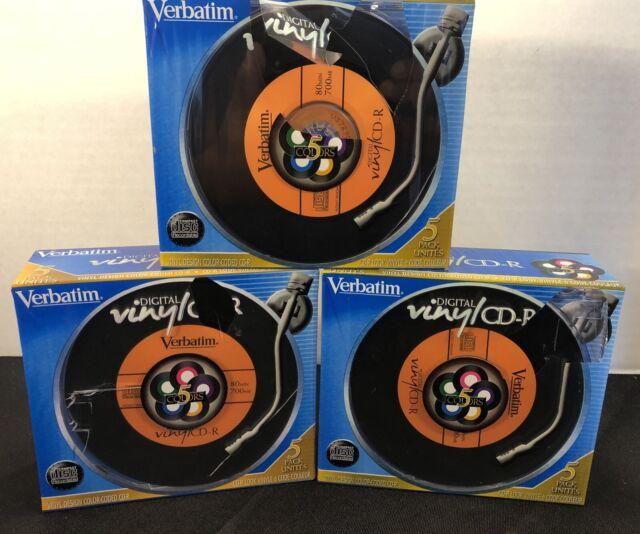 Lot of 3 Verbatim Digital Vinyl CD~R 5 Pack Color w/ Cases Blank Media. Sealed