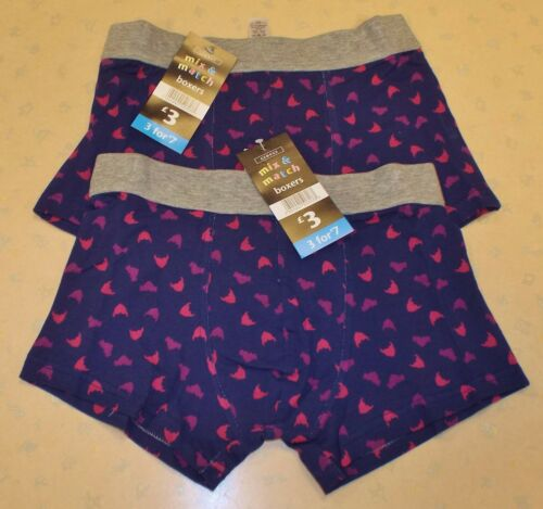 2 PAIRS OF NEW MEN/'S EX-GEORGE NOVELTY CUPID HEARTS BOXER SHORTS SMALL up to XXL