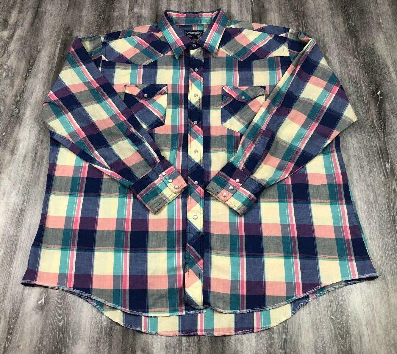 WRANGLER Cowboy Cut Regular Fit X-Long Tails Plaid Long Sleeve Snap Button Shirt