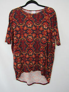 LuLaRoe-Irma-Shirt-Top-Size-XXS-Red-Blue-White-Floral-Pattern-New-NWT-2XS