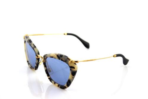 RARE Authentic MIU MIU Sand Havana Blue Silver Mirror Sunglasses SMU 10N HAO-4N0