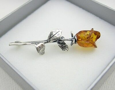 NATURAL BALTIC AMBER STERLING SILVER 925 BROOCH ROSE BROWN COGNAC Certified BOX