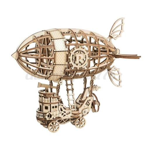 3D Wooden Airship Model DIY Puzzle Toy Building Assembly Kit Kids Gift