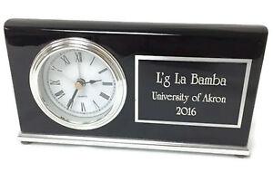 Image Is Loading Personalized Wood Black Piano Finish Horizontal Desk Clock