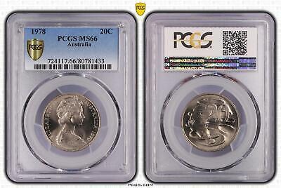 1978 Australia 20c Tewnty Cent Pcgs Ms66 Graded Gem High Grade!