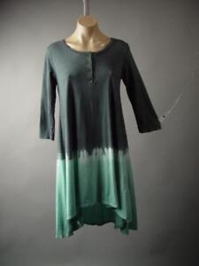 Ombre-Dip-Tie-Dye-Gray-Light-Blue-Hippie-Boho-Henley-T-Shirt-243-mv-Dress-S-M-L