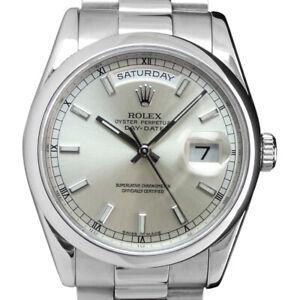 ROLEX-PLATINUM-President-Day-Date-Silver-Index-Fat-Buckle-118206-Sant-Blanc