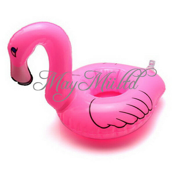 Mini Cute Red Flamingo Floating Inflatable Drink Can Holder Pool Bath Toy MI