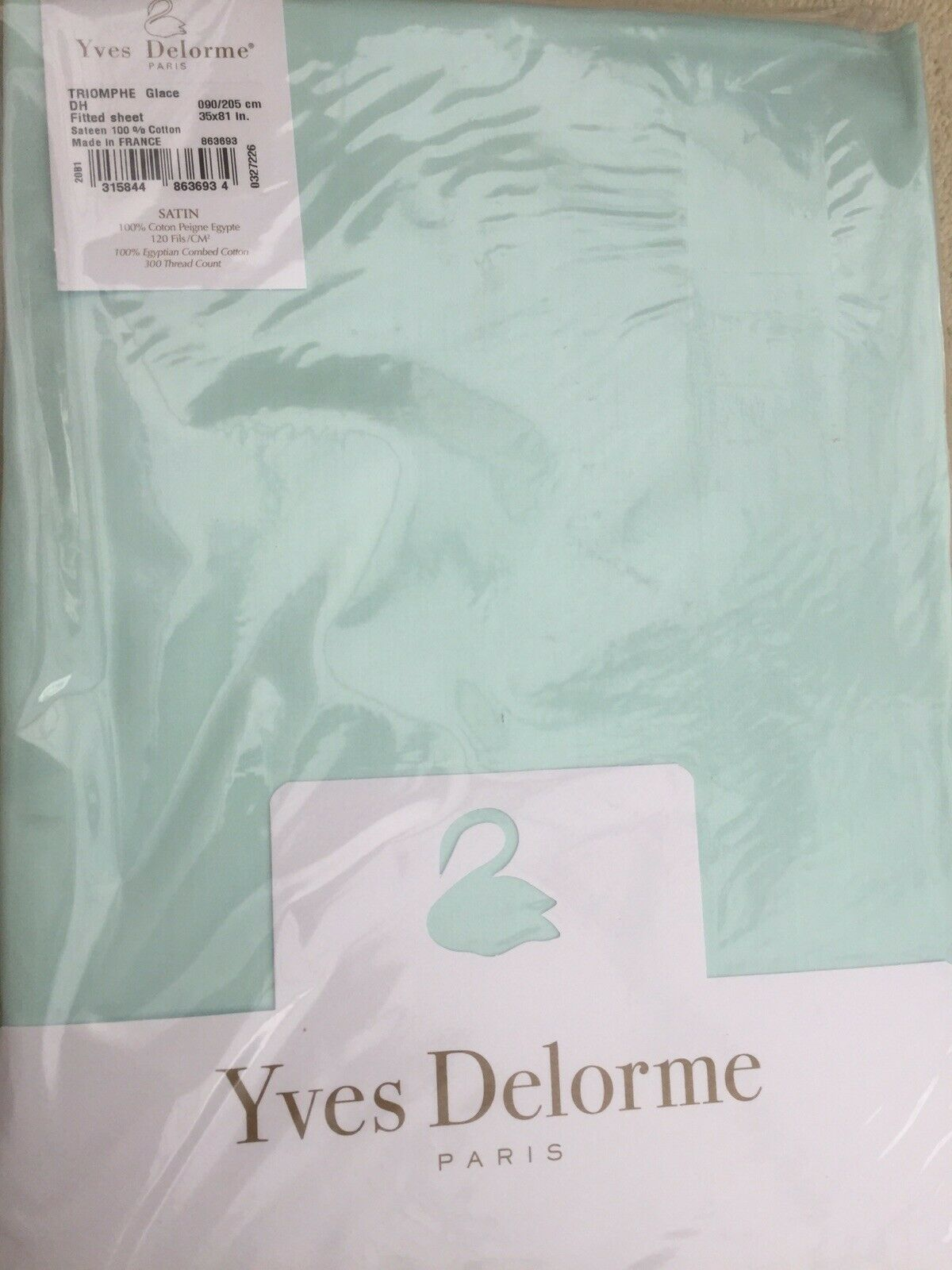 YVES DELORME TRIOMPHE GLACE SATIN FITTED SHEET  LUXURY 90 205 CMS