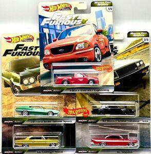 Hot-Wheels-2020-Rapido-y-Furioso-Premium-Motor-City-Musculo-Conjunto-de-5-Chevy-coche-ford