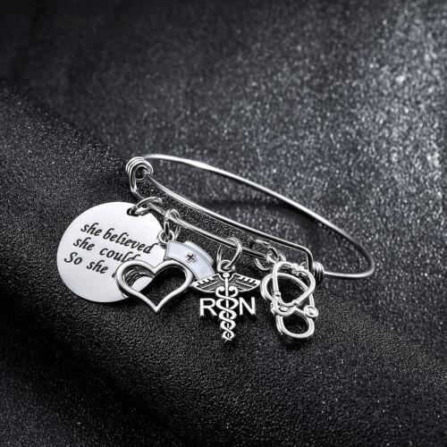 RN LPN Nurse Cap Prayer Heart Necklace Key Chain For Women Graduation Nurse Gift