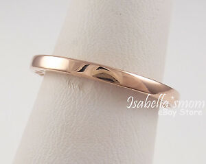 33052e65c Classic HEARTS OF PANDORA Rose GOLD Plated Band Ring 4.5/48 NEW with ...