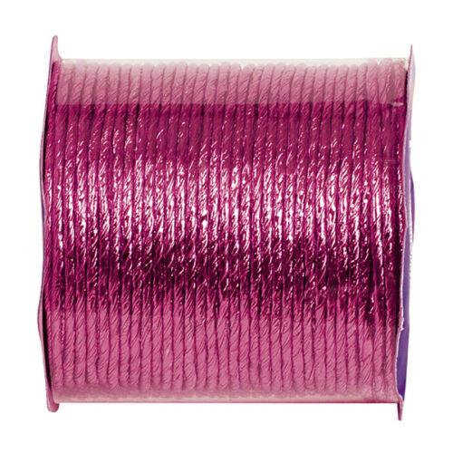 Dekoband métallique 2 mm x 20 M Fuchsia Fixation geschenkband Fil Bandes
